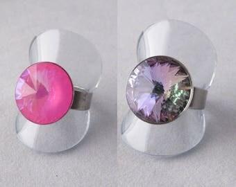 Adjustable Crystal Rivoli Ring