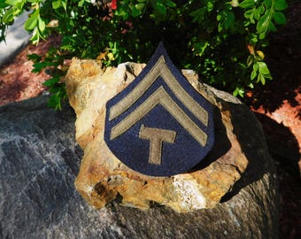 Vintage WWII US Army Technical Corporal Rank Chevron Wool Winter Combat Patches - 2 each available - from DustyMillerAntiques