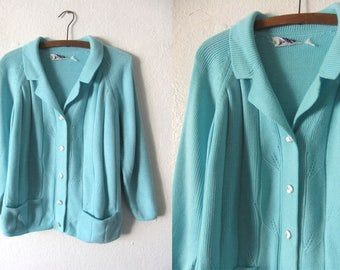 Aqua Blue Cardigan Sweater - Bright Pastel Colored Minimal Slouchy fit Collared Sweater - Womens Medium