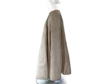 Victorian Striped Skirt with Black Velvet Trim Civil War Bustle Skirt