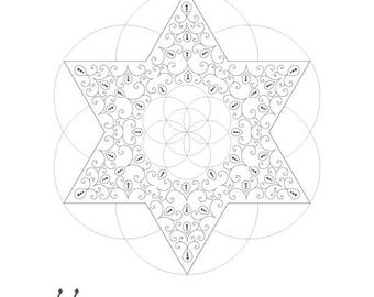 Golden Spiral Star of David Seed Of Life Octahedron-Sacred Geometry-Energy Healing Printable-Coloring Page-INSTANT DOWNLOAD by @HALELUYA