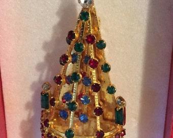 SALE!!!-Mid Century Joseph Warner Christmas Tree Brooch, Signed, Elaborate Pin With Colored Rhinestones