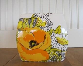 VTG Vera Neuman Tissue Box, Vera Neuman, Tissue Box, Ceramic, 1970's, 1980's, Floral, Orange, Yellow, Zinnia, Poppy, Bathroom Accessory