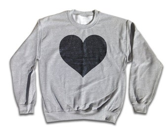 Love Heart Sweatshirt - Retro Rock Fashion for men and women - Valentine's Day, Boyfriend, Girlfriend, Black Hearts, Retro Grey Sweatshirt