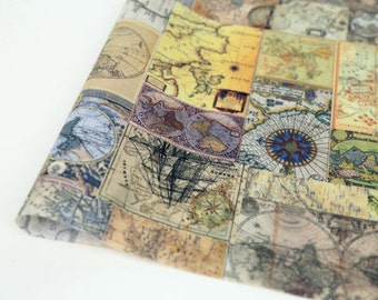 Vintage Maps Laminated Cotton Fabric - By the Yard 96826