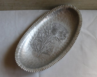 Aluminum Serving Tray - Continental Trade Mark Wrought 566 - Chrysanthemum Pattern - Bread Tray - 1950s - Retro - Hammered Aluminum - Oval