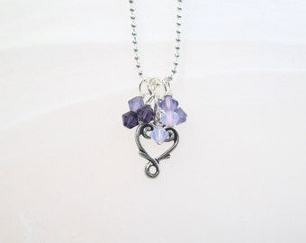 Heart Charm necklace silver tone with purple crystals