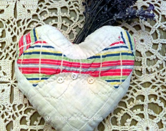 Lavender Sachet Heart Crafted from Vintage Quilt Pieces: Valentine, Wedding, Hostess Gift, Aromatherapy