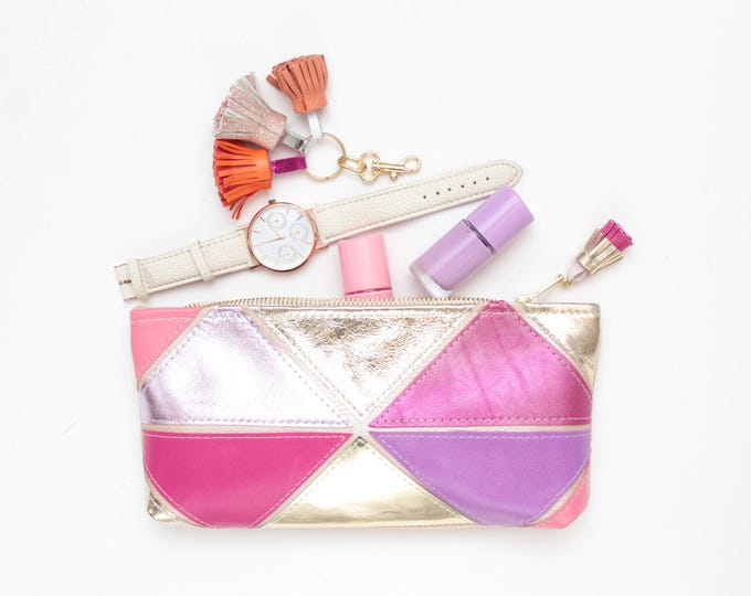 Reserved for Jyoti/Natural leather pouch-makeup bag-cosmetic-small purse-zipper pouch-geometric clutch-pink purple gold /MINI PRISM 28