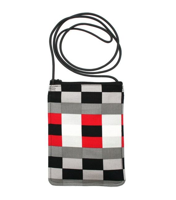 checkerboard, graphic, small cross body, vegan leather, zipper top, passport bag