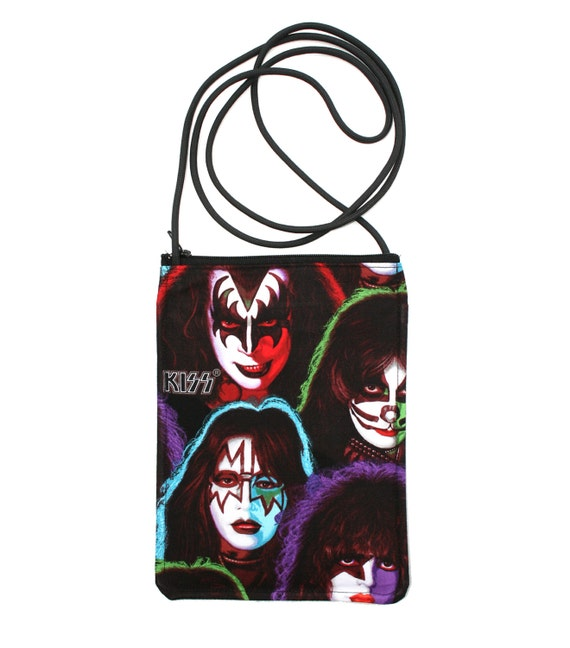 KISS, rock and roll, small cross body, vegan leather, zipper top, passport bag