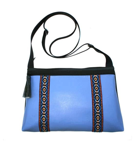 Blue vinyl, vintage trim, double stripe, boho, medium crossbody, vegan leather, zipper top, tassel
