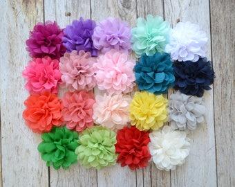 "Chiffon 3.5"" flower, Wholesale Flowers- DIY headband, fabric flowers, headband supply, YOU PICK quantity, Diy headband supplies"