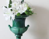 SALE - Vintage Green Urn - Emerald Green Ceramic Urn Planter made by Dartmouth, England - Vase, Plant Pot