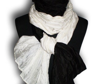 Black and white stole Long Wrap wrinkled shrug / gift / Custom order color wedding shawl by FedRaDD