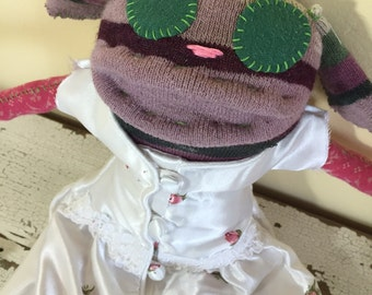 Valentine Sock Animal Puppy, Rose Flowered Nightie, Made from All Reclaimed Clothing, Hand Stitched, Sustainable, Quirky, Eco Friendly, OOAK