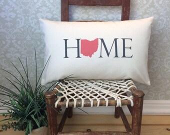 Ohio Pillow, Long Pillow, Home Pillow, State Pillow, Home Decor, House Warming Gift, House Warming Pillow, Custom Pillow, Lumbar