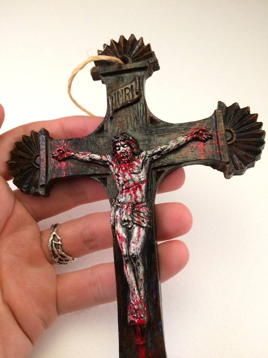 Zombie jesus halloween ornament horror cross crucifix religion