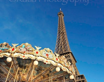 The Eiffel Tower and The Carousel Fine Art Photography, Paris, France Digital, Instant Download, Printable, Downloadable