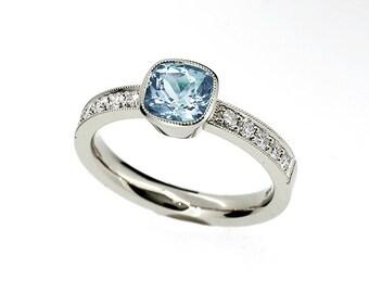 Cushion cut Aquamarine ring, engagement ring, diamond engagement, aquamarine engagement, bezel, solitaire, light blue, palladium, milgrain