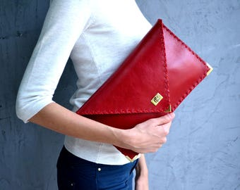 Red Leather clutch / Lava red leather bag / Red leather purse / Red evening bag / Envelope clutch