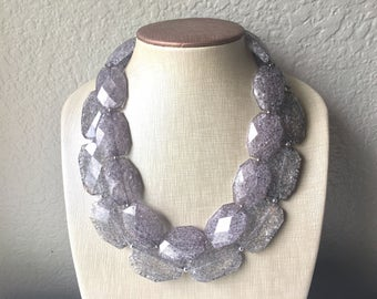 Gray Necklace, multi strand jewelry, big beaded chunky statement necklace, bridesmaid necklace, gray necklace, gray jewelry