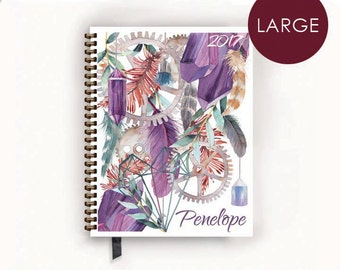 2017 Large Personalized Planner with Bohemian Purple Crystal, Feather, Gear Collage Cover
