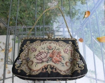 Antique Petit Point Purse Czechoslovakian Small Needlepoint Floral Tapestry Handbag with Chain, Vintage Needlepoint purse