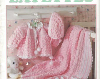 Lullaby Layettes - Leisure Arts #2614 - Crochet Baby Layette Pattern, Crochet Baby Sweater Pattern, Crochet Baby Afghan Blanket Pattern