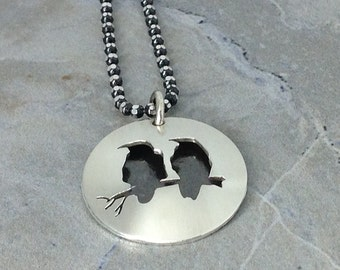 Ravens Silhouette / Shadow Sterling Silver Pendant