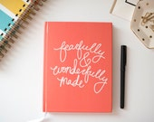 Scripture Journal, Fearfully and Wonderfully Made, Quote Journal, Psalm Verse, Illustrated Faith, Bible Journaling Gift, Scripture for Her