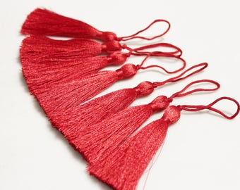 Long Red Silk Tassels 80 mm, Ethnic Tassels Boho Gypsy Jewelry Making Supplies (AG230)