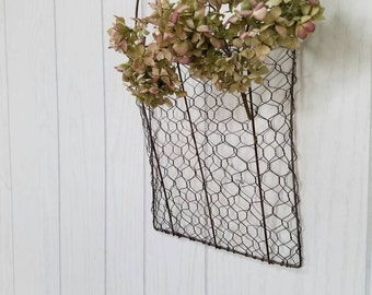 Chicken Wire Wall Pocket Farmhouse