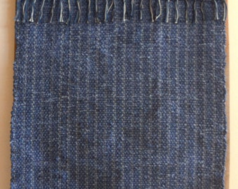 """Hand Woven Rag Rug - Denim with Stripes and Blue Grey Fringe - 23"""" x 44"""""""