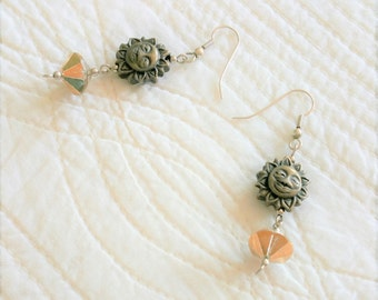Vintage Bohemian Brass and Faceted Glass Sun Dangle Earrings, Olives and Doves