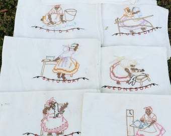 Set of seven (entire week) of Black Mammy hand embroidered flour sack tea towels - with days of the week and chores