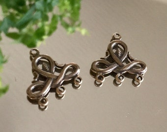 bronze filigree necklace connectors multi strand 3 to 1 earring component centers filigree art nouveau, 1 pair
