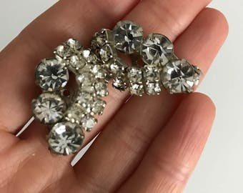 Vintage silver fancy rhinestones clip on earrings