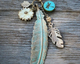 Turquoise Patina Gold Feather Charm Necklace