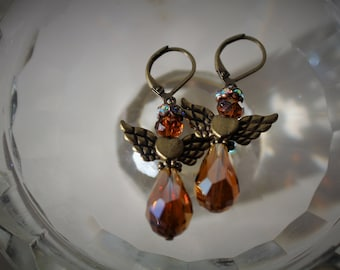 Fireglazed Amber and Brass Angel Earrings