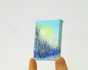 Miniature painting acrylic painting Original art - paintings on canvas - small painting - original painting - miniature art - grass art