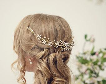 Bridal headpiece, Gold hair vine, pearl crown, Bridal crown, Pearl tiara, Wedding hair accessories, Wedding tiara, bridal comb, flower comb