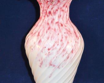 Vintage Ceramic Red and White Flower Vase