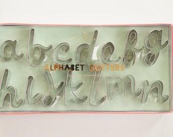 Cursive Alphabet Letters Cookie Cutter Set | Meri Meri | Handwritten Script Font Cutters | Fondant Letter Cutter Set