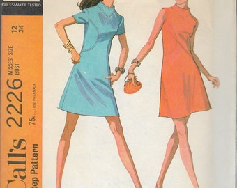 """Vintage 1969 McCall's 2226 Mod Dress in Two Versions Sewing Pattern Size 12 Bust 34"""""""