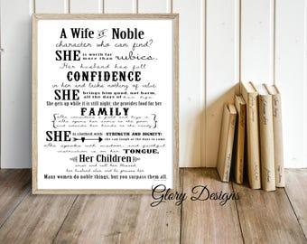Printable Bible Verse, Scripture art, Wall art, Women's printable, Proverbs 31, Poster art, Scripture printable, Wall decor, A wife of noble