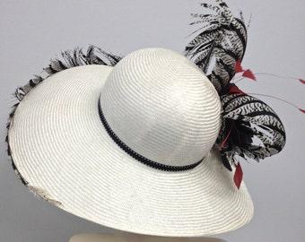 WIDE BRIM Black and White Kentucky Derby Women's Hat, Easter Hat, Large Brim Straw Hat,Kentucky Derby Hat,