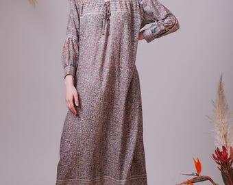 Bohemian Indian cotton dress,Boho dress,Hippie dress,Shirt dress,Indian dress,Midi dress,Blue dress,Floral dress,Prairie dress,Gypsy dress