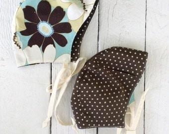 1/2 price! 3-6 months - Reversible Bonnet - floral/star (original style)
