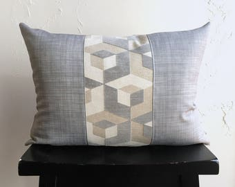 Modern Gray Geometric Pillow Cover, 14x20 Decorative Pillows, Escher Lumbar Pillow, Gray Lumbar Pillow Cover, Designer Pillows